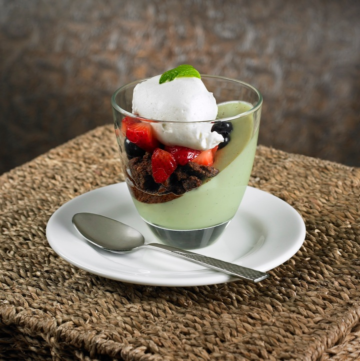 Avocado Panna Cotta with Mixed Berry Salad and Peanut Butter or Chocolate Cookie Crumbs